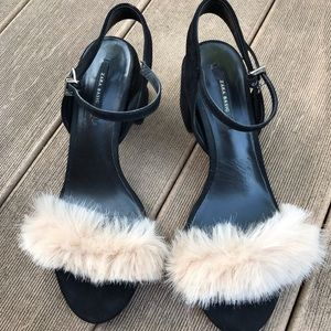 Zara faux fur vamp block sandals size 6 1/2  or 37